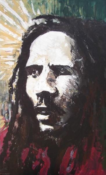 Schilderij portret van reggae legende Bob Marley 120x100cm