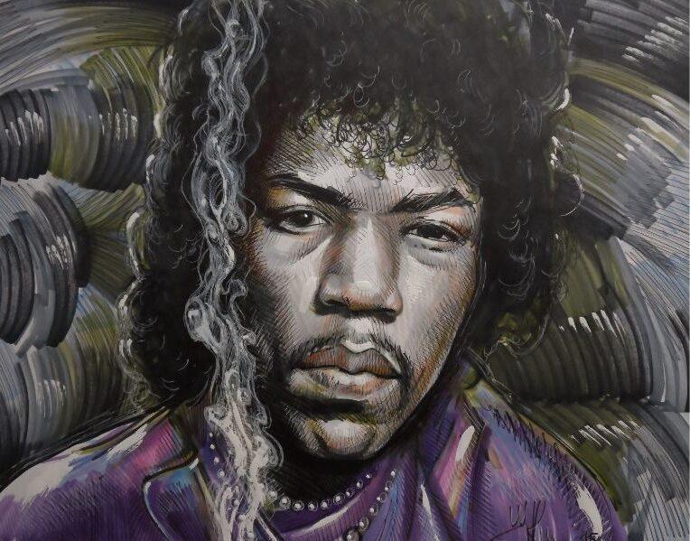 Tekening met portret van Jimmy Hendriks
