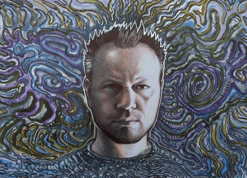 Zelfportret van kunstenaar Jaap Roos