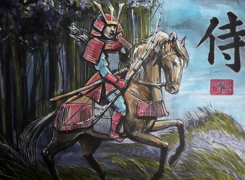 Tekening japanse strijder te paard met wapen. Te gebruiken als illustratie in een tijdschrift, boek of gewoon als kunst aan de muur.