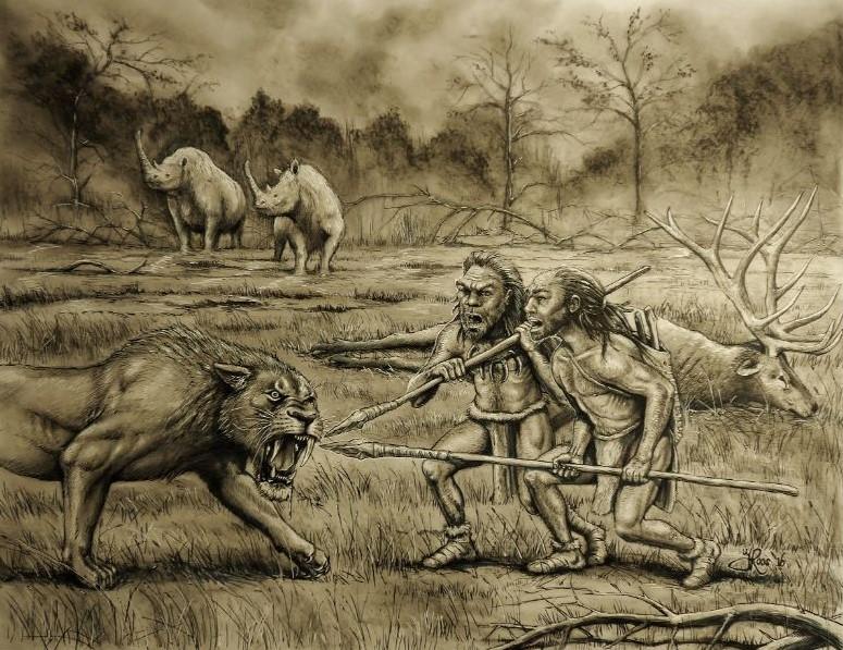Kunst schilderij met primaten, de neanderthalers jagend op de sabeltandtijger. Landschap scène gemaakt van het pleistocene tijdperk.