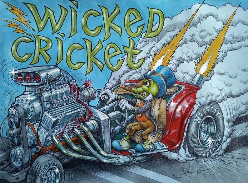 Muscle car schildering van cricket wicked. Getekend door illustrator Jaap Roos artr