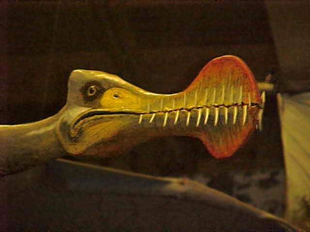 pterosaurus sculptuur gemaakt voor een prehistorisch dino museum De groene Poort