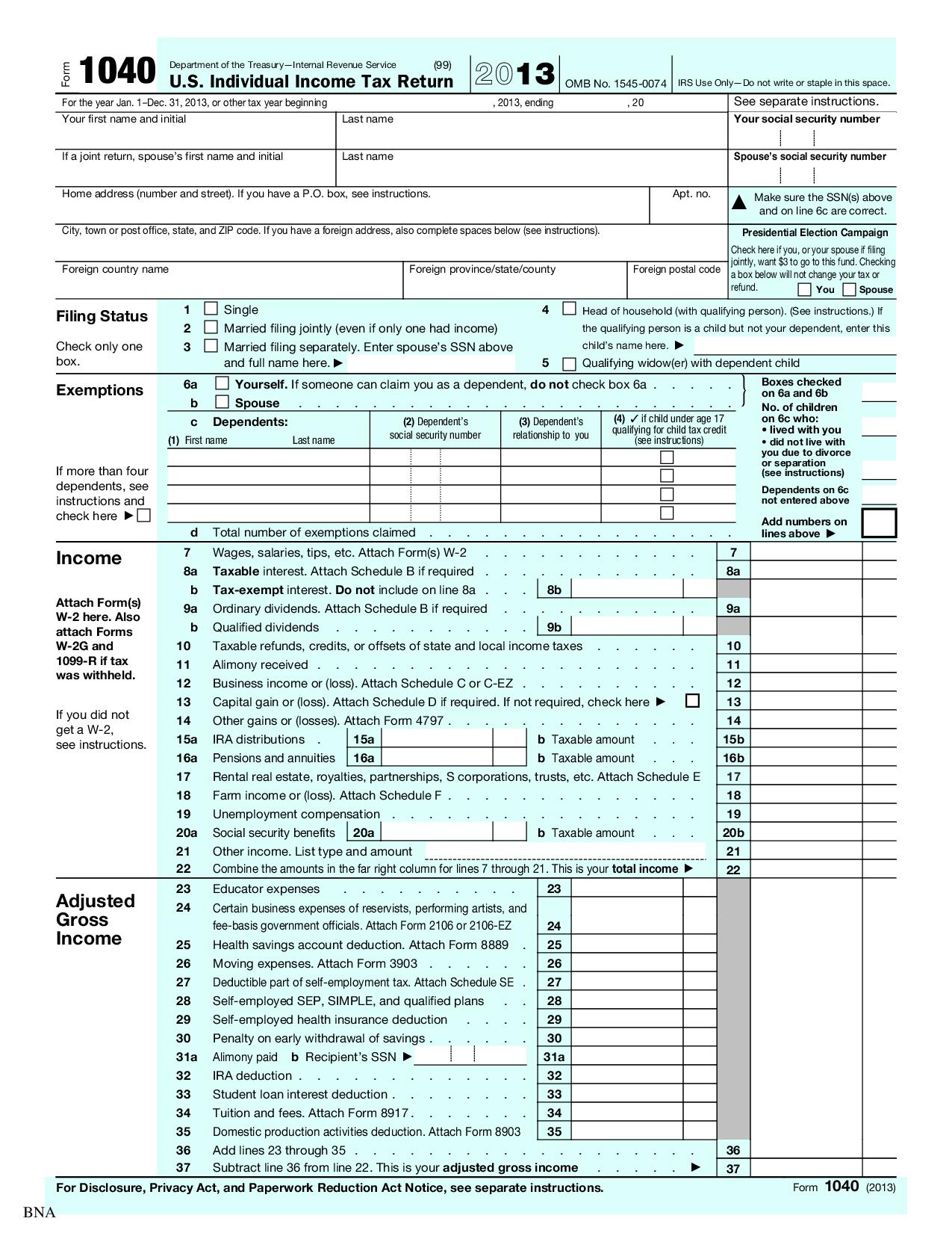 U S Individual Income Tax Return With Schedule E