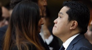Inter Milan's President  Thohir looks on before the Italian Serie A soccer match against Napoli in Milan