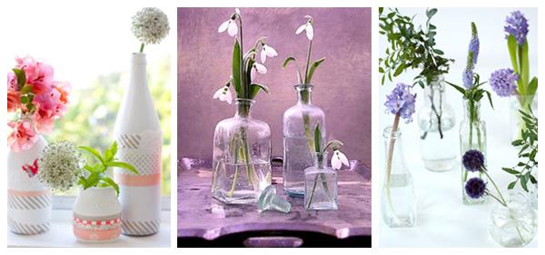 Reciclando botellas en floreros