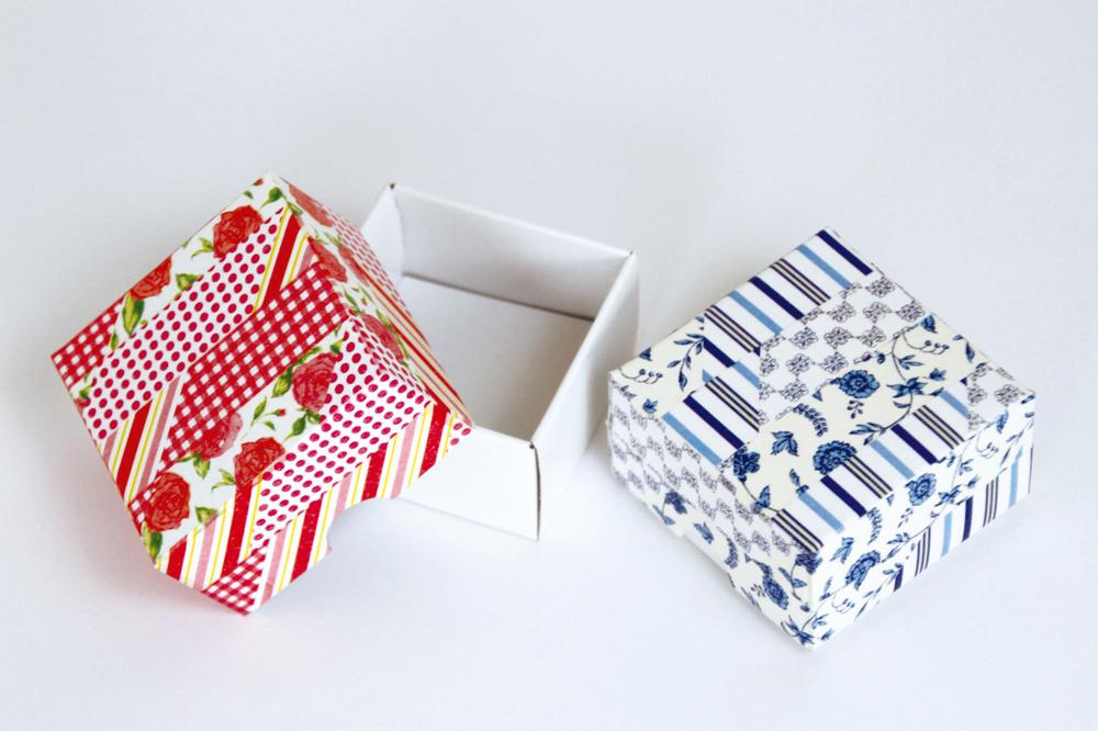 Cajas decoradas con washi tapes