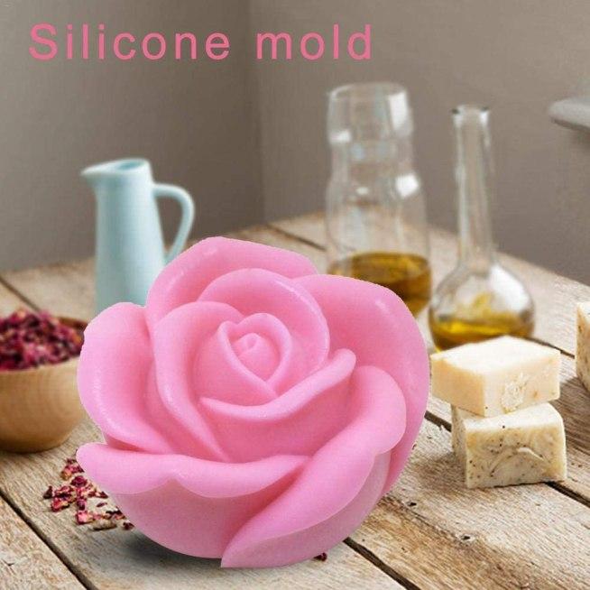 Moldes de silicona 3D para velas y jabones con forma de rosa