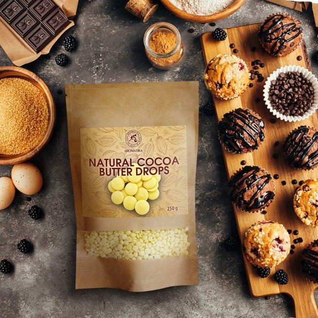 Gotas de Manteca de cacao sin refinar para elaboración de postres