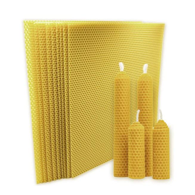 Láminas de cera de abeja para hacer velas