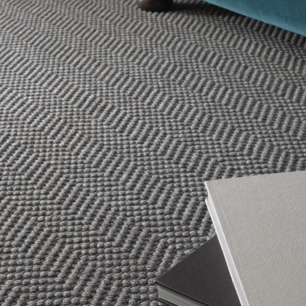 Natural Weave Herringbone Machine Made Texture Pure Wool   Grey Herringbone Carpet Stairs   Living Room   Flat Weave   Hartley   Patterned   Modern