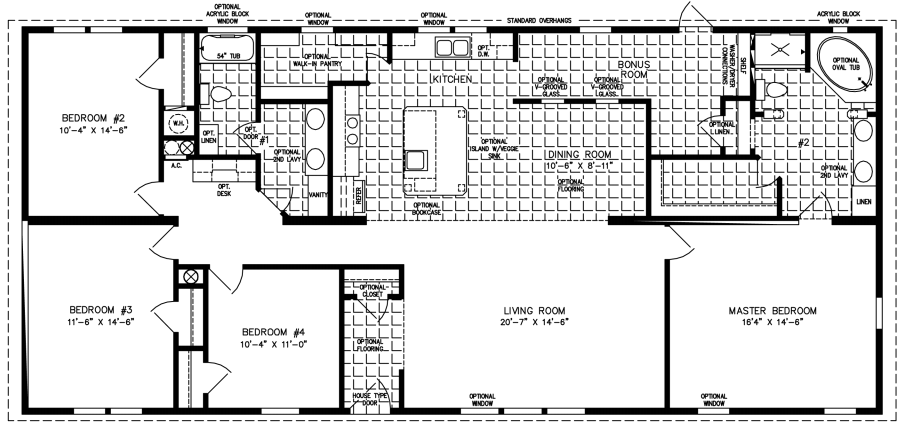 2000 sq ft and up manufactured home floor plans