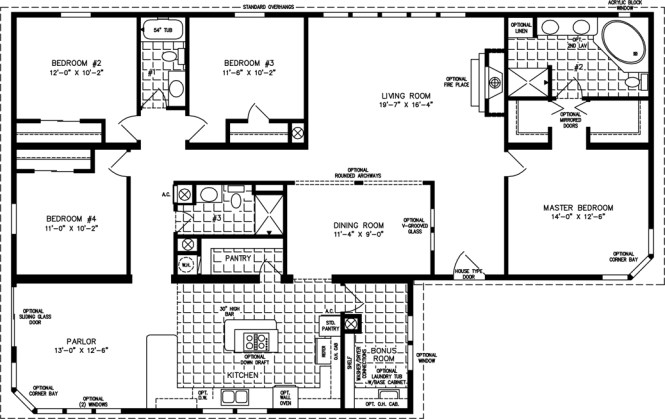 Manufactured Home Floor Plan The T N R Model Tnr 7642 4 Bedrooms