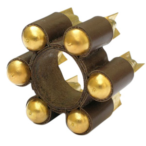 Sophie Hanagarth 'Under Index' 2004 Ring - leather, gold plated brass