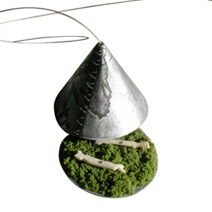 Monique Manoha 'Bones and Grass' 2004 Pendant - silver, bone, grass