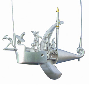 Dieter Dill 'The Ship of Fools' 2004 Pendant - silver, gold, diamonds