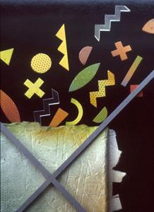 5.34 'Construction (detail)' 1986. cast paper, wood, paint, acrylic