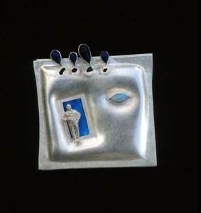 5.42 'Blue Sky Scenario' 1991. Brooch; white metal, lapis lazuli, opal, enamel