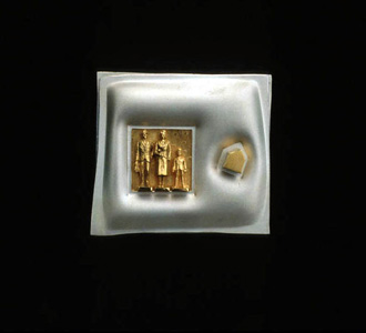 5.44 'Happy Family' 1992. Brooch; white metal, gold plating, freshwater pearl, mother of pearl, tourmaline
