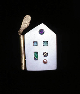 5.59 'Love Nest' 1997. white metal, cultured pearl, 18ct y gold, amethyst, tourmaline, agate