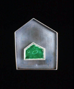 5.62 'House' 1999. Brooch; white metal (oxidised), enamel