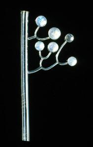 6.19 'Family Tree II' 2000. Brooch; white metal, rainbow moonstone