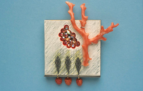7.3 'Garden of Heavenly Delights' 2003. Brooch; white metal, wood, coloured pencil, branch coral, found object