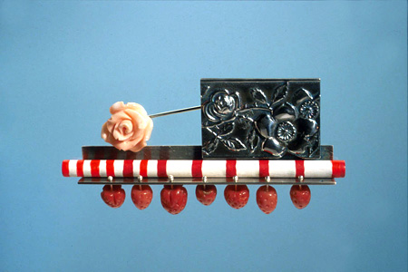7.4 'Long Hot Summer' 2003. Brooch; white metal, wood, paint, coral