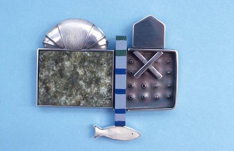 7.44 'Glasgow Brooch' 2004. Brooch; white metal, wood, paint, garnet, mother of pearl