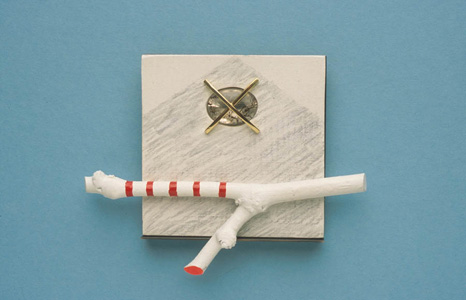 'Pére Lachaise' 2004. Brooch; white metal, wood, paint, rutilated quartz, 18ct y gold
