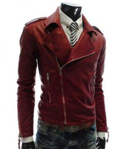 mens-red-faux-leather-jacket