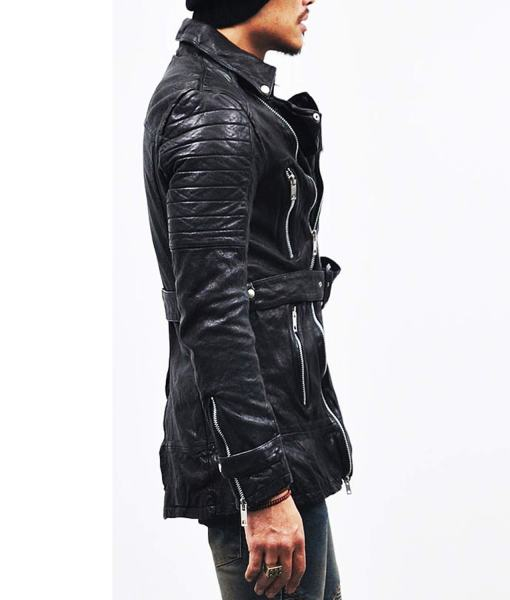 mens-black-belted-mid-length-leather-coat