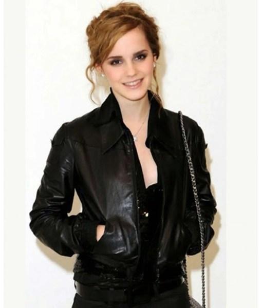 emma-watson-bomber-leather-jacket