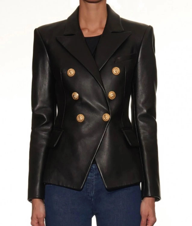 Women/'s Kim Kardashian Slim Fit Double Breasted Black Leather Blazer Jacket