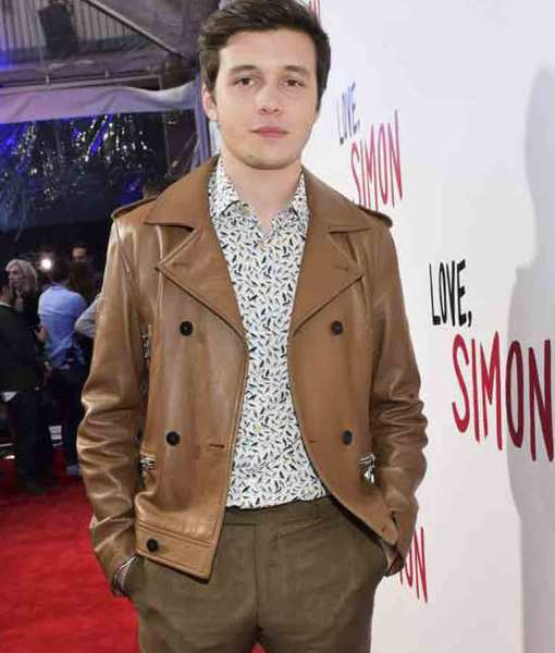 nick-robinson-love-simon-spier-brown-leather-jacket