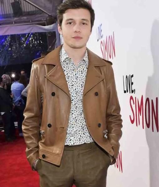 nick-robinson-love-simon-spier-brown-leather-jacket