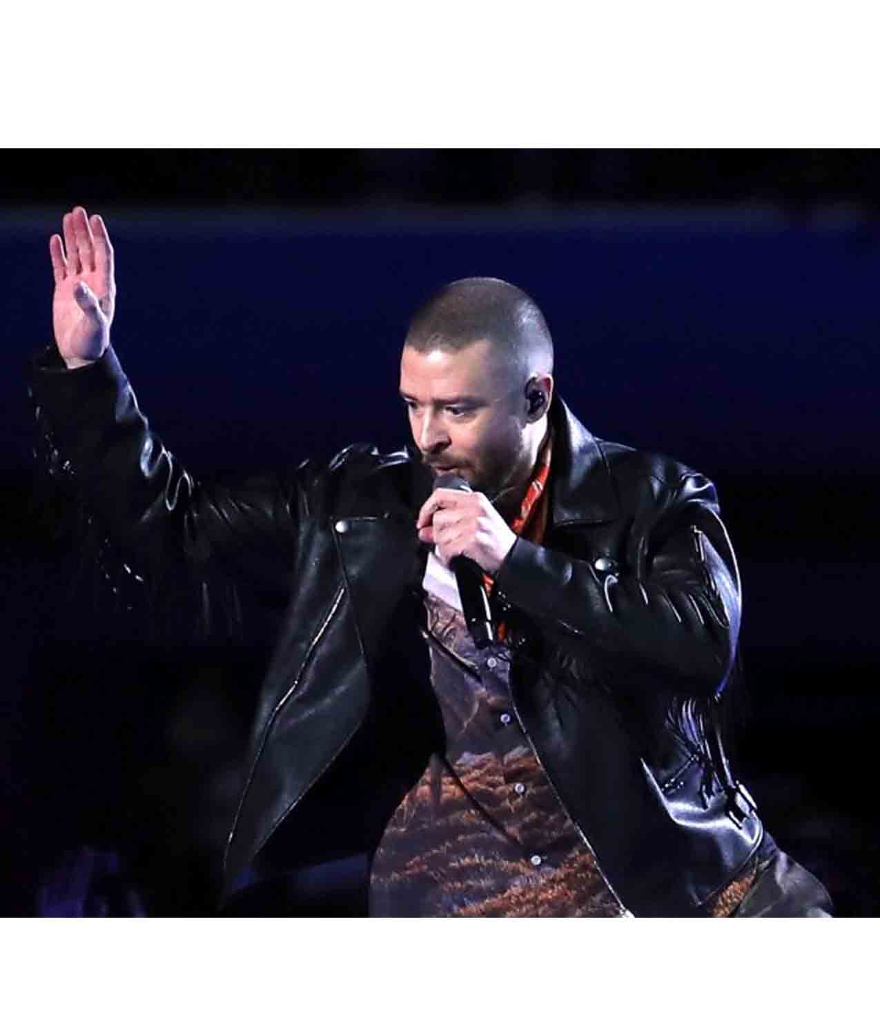 new arrival 6d7d1 fa7cc Super Bowl Lii Halftime Justin Timberlake Leather Jacket ...