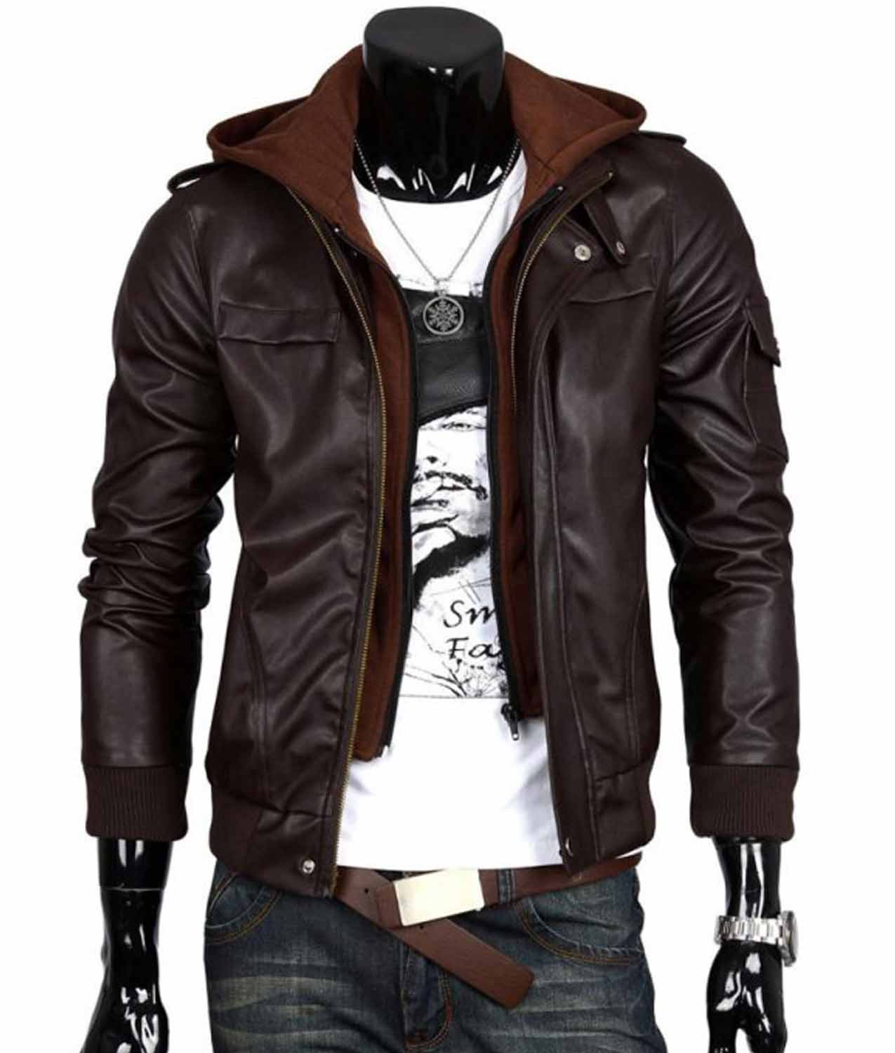 Mens Slim Fit Bomber Chocolate Brown Leather Jacket With