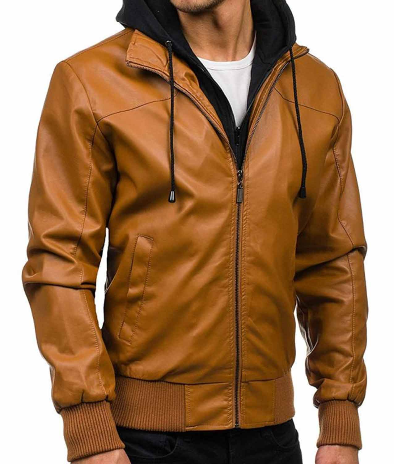Mens Causal Bomber Camel Brown Leather Jacket With Hoodie