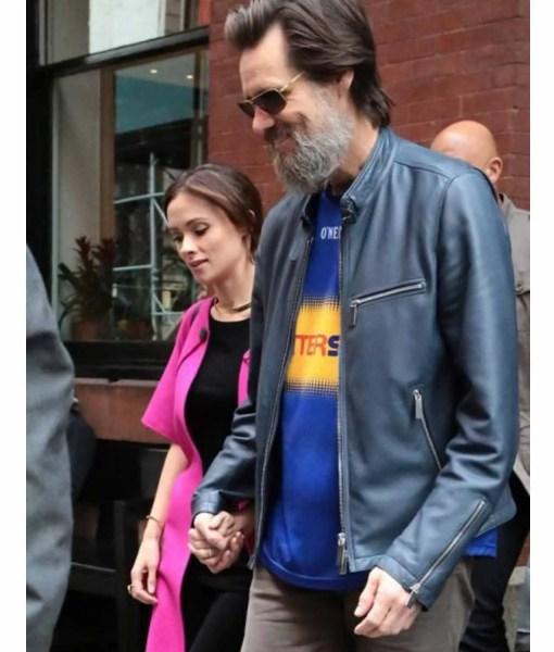 jim-carrey-street-wear-blue-leather-jacket