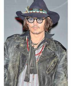johnny-depp-distressed-black-leather-jacket