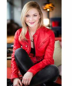 linda-hasse-red-leather-jacket