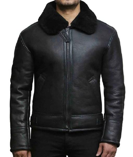 mens-sheepskin-black-leather-jacket