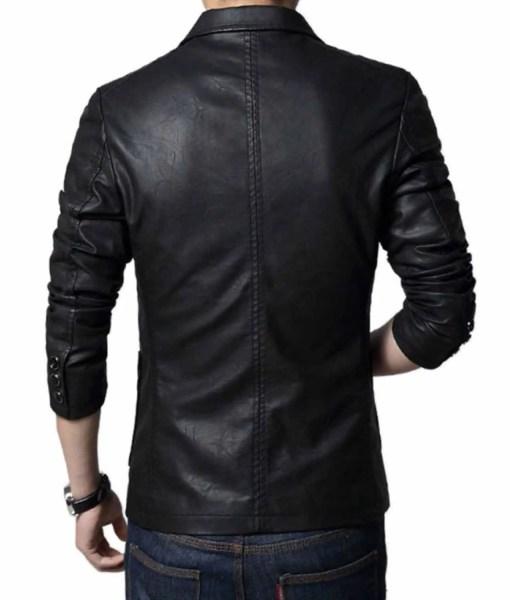 slim-fit-black-leather-blazer