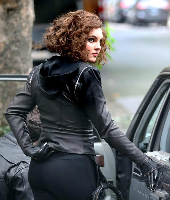 Gotham Season 5 Selina Kyle Leather Jacket with Hoodie