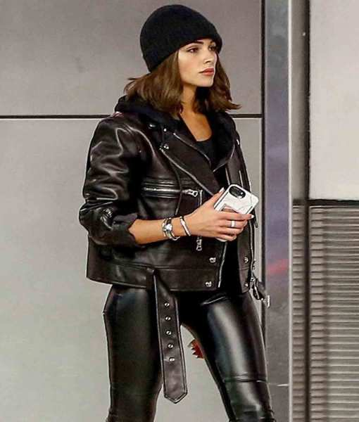 miami-airport-olivia-culpo-belted-biker-leather-jacket