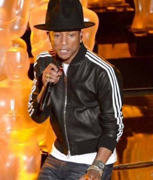 pharrell-williams-black-leather-bomber-jacket