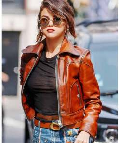 selena-gomez-brown-leather-jacket