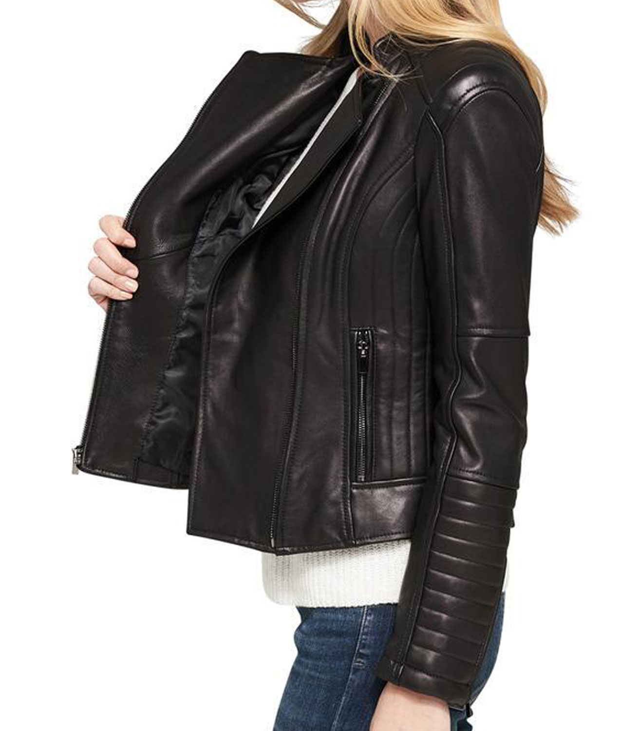 Womens Asymmetrical Zipper Shoulder and Sleeves Quilted