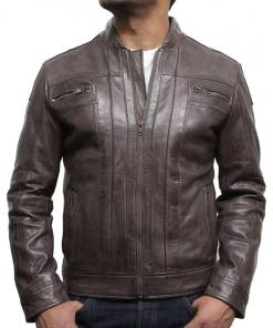 mens-zipper-pocket-designer-brown-leather-jacket